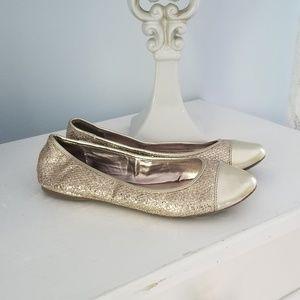 Steve Madden Gold Glitter Flats Size 8.5